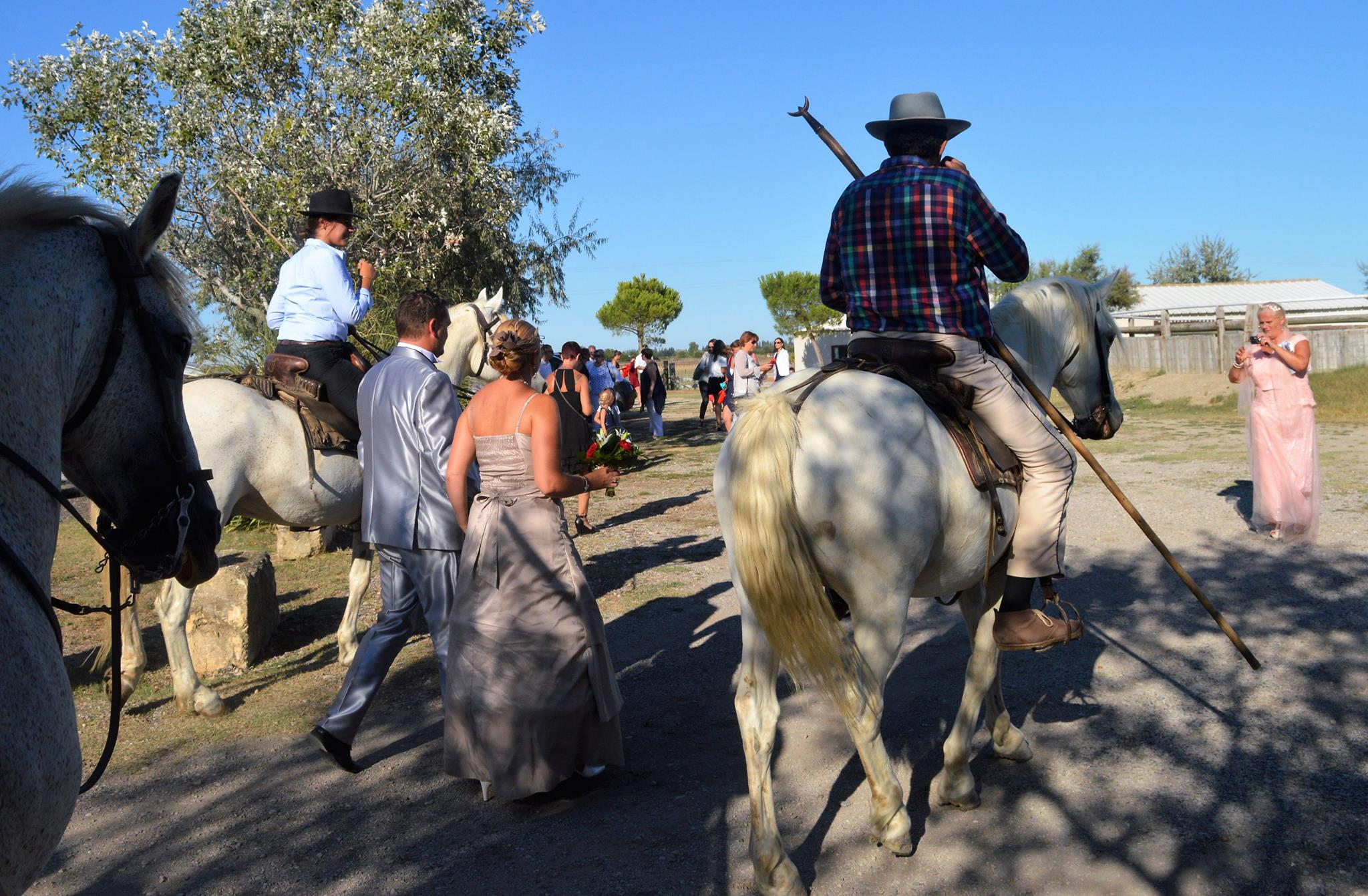 Mariés gardians réception manade trident tradition cheval camargue